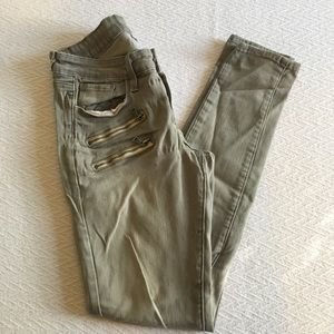 Paige Edgemont Ultra Skinny Zippered Jeans Gray